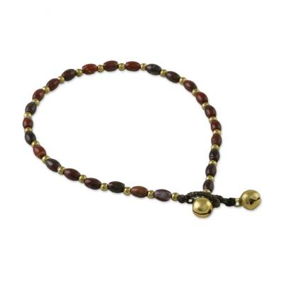 Handmade Jasper and Brass Beaded Anklet from Thailand