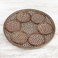 Bamboo tray and coaster set, 'Thai Blossom Hospitality' (Set of 7) - Handcrafted Woven Flower Bamboo Coasters and Tray (Set of 7)