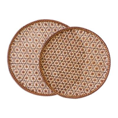 Handcrafted Woven Flower Motif Rattan Trays (Pair)