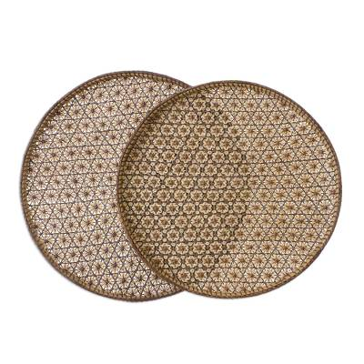 Set of 2 Handcrafted Woven Flower Motif Thai Rattan Trays