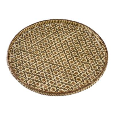 Handcrafted Woven Flower Motif Rattan Tray (10 inch)