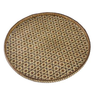 Handcrafted Woven Flower Motif Rattan Tray (11 inch)