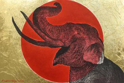 'Happiness Smile I' - Signed Painting of an Elephant Against the Sun