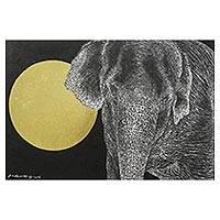 'Meet Under the Moonlight' - Signed Painting of an Elephant from Thailand