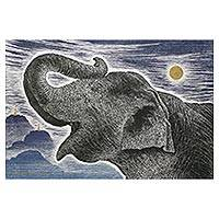 'Happy Under The Moonlight' - Signed Painting of an Elephant and Landscape from Thailand