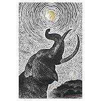 'Under the Moon and Star' - Signed Painting of an Elephant and Moon from Thaialnd