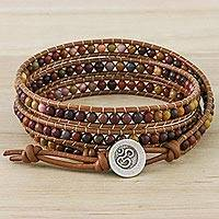 Jasper beaded wrap bracelet, 'Calm Touch'
