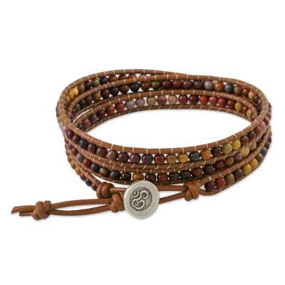 Jasper beaded wrap bracelet, 'Calm Touch' - Jasper and Leather Beaded Wrap Bracelet from Thailand