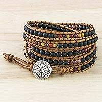 Jasper beaded wrap bracelet, 'Midnight Walk' - Jasper and Glass Beaded Wrap Bracelet from Thailand