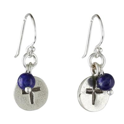 Lapis lazuli dangle earrings, 'Subtle Cross' - Lapis Lazuli Cross Dangle Earrings from Thailand