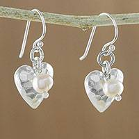 Cultured pearl dangle earrings, 'Fabulous Hearts'