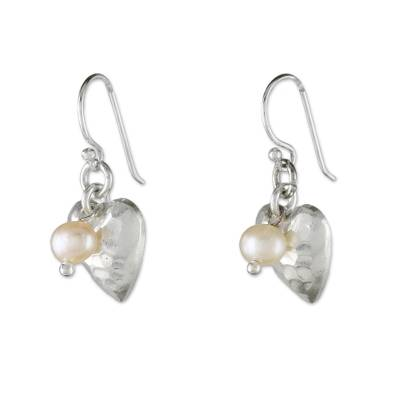 Cultured pearl dangle earrings, 'Fabulous Hearts' - Cultured Pearl and Silver Heart Earrings from Thailand