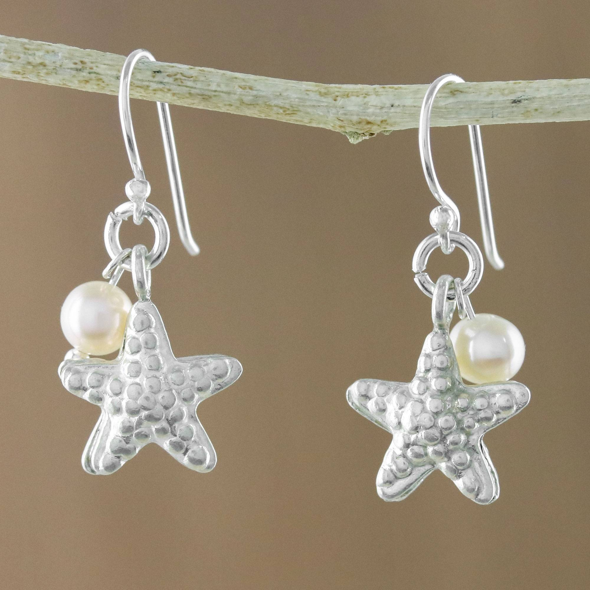 b0207b76e UNICEF Market | Cultured Pearl and Silver Starfish Dangle Earrings ...