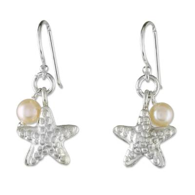 Cultured Pearl and Silver Starfish Dangle Earrings