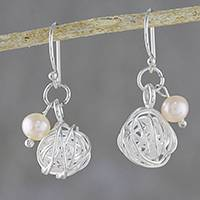 Cultured pearl dangle earrings, 'Bauble Nests' - Cultured Pearl Nest Dangle Earrings from Thailand