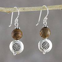 Silver dangle earrings, 'Hill Tribe Nature' - Karen Silver and Bamboo Dangle Earrings from Thailand