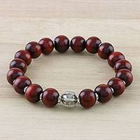 Silver and wood beaded stretch bracelet, 'Passionate Karen' - Karen Silver and Wood Beaded Stretch Bracelet from Thailand