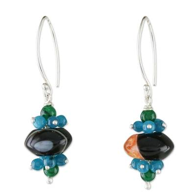 Agate and quartz beaded cluster earrings, 'Deep Forest' - Agate and Quartz Beaded Cluster Earrings from Thailand