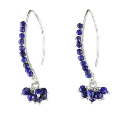 Lapis lazuli beaded dangle earrings, 'Dancing Gleam' - Blue Lapis Lazuli Beaded Dangle Earrings from Thailand
