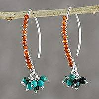 Carnelian beaded cluster earrings, 'Dancing Gleam' - Carnelian and Calcite Beaded Cluster Earrings from Thailand