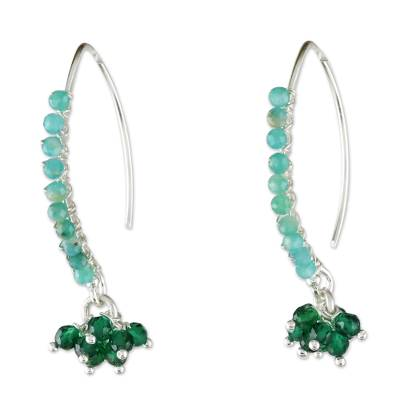 Amazonite Beaded Cluster Earrings from Thailand