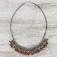 Multi-gemstone beaded waterfall necklace, 'Bohemian Island' - Multi-Gemstone Beaded Waterfall Necklace from Thailand