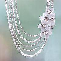 Cultured pearl and rose quartz beaded strand necklace, 'Luscious Garlands' - Floral Cultured Pearl and Rose Quartz Necklace from Thailand