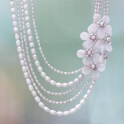 334b1e750f9 Floral Cultured Pearl and Rose Quartz Necklace from Thailand ...