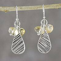 Citrine dangle earrings, 'Lucky Texture' - Citrine and Karen Silver Dangle Earrings from Thailand