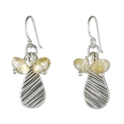 Citrine and Karen Silver Dangle Earrings from Thailand