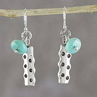 Amazonite dangle earrings, 'Cool Modernity' - Amazonite and Karen Silver Modern Earrings from Thailand