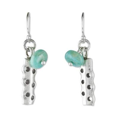 Amazonite dangle earrings, 'Cool Modernity' - Amazonite and Karen Silver Modern Earrings from Thailand