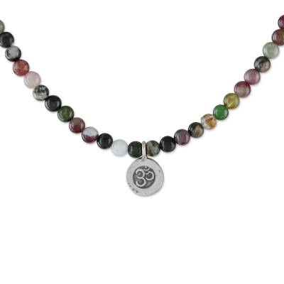 Tourmaline beaded pendant necklace, 'Beautiful Om' - Tourmaline Om Beaded Pendant Necklace from Thailand