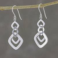 Sterling silver dangle earrings, 'Interlinked Squares'