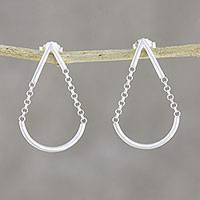 Sterling silver dangle earrings, 'Swing Drop' - Sterling Silver Chain Dangle Earrings from Thailand