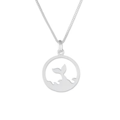 Sterling silver pendant necklace, 'The Whale' - Whale-Themed Sterling Silver Pendant Necklace from Thailand
