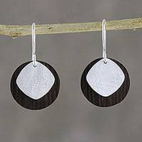 Sterling silver and wood dangle earrings, 'Simple and Smart' - Modern Thai Sterling Silver and Wood Dangle Earrings