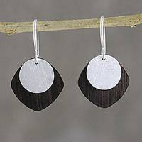 Sterling silver and wood dangle earrings, 'Simple and Sophisticated' - Sterling Silver and Wood Dangle Earrings from Thailand