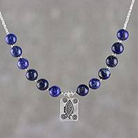 Lapis lazuli beaded pendant necklace, 'Fish Fossil' - Lapis Lazuli Beaded Pendant Necklace from Thailand
