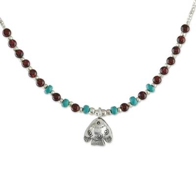 Fish-Themed Garnet Beaded Pendant Necklace from Thailand