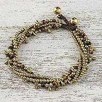 Tiger's eye beaded torsade bracelet, 'Happy Trip' - Tiger's Eye Beaded Torsade Bracelet from Thailand