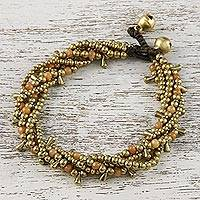 Carnelian beaded torsade bracelet, 'Happy Trip' - Carnelian Beaded Torsade Bracelet from Thailand