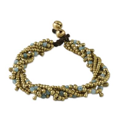 Quartz beaded torsade bracelet, 'Happy Trip' - Quartz Beaded Torsade Bracelet from Thailand
