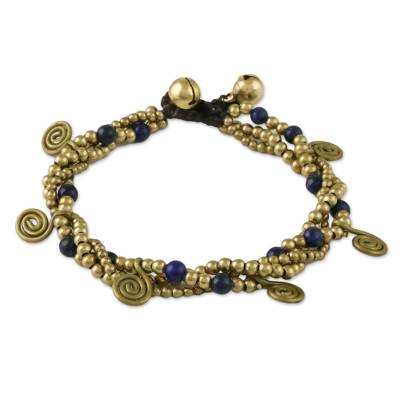 Lapis Lazuli Beaded Charm Bracelet from Thailand