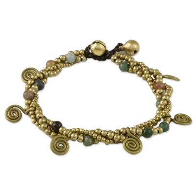 Agate and Brass Beaded Charm Bracelet from Thailand