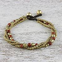 Jasper beaded torsade bracelet, 'Musical Love' - Jasper and Brass Beaded Torsade Bracelet from Thailand