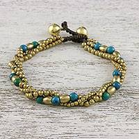 Serpentine beaded torsade bracelet, 'Musical Love' - Serpentine and Brass Beaded Torsade Bracelet from Thailand