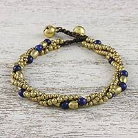 Lapis lazuli beaded torsade bracelet, 'Musical Love' - Lapis Lazuli and Brass Beaded Torsade Bracelet from Thailand