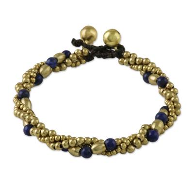 Lapis Lazuli and Brass Beaded Torsade Bracelet from Thailand