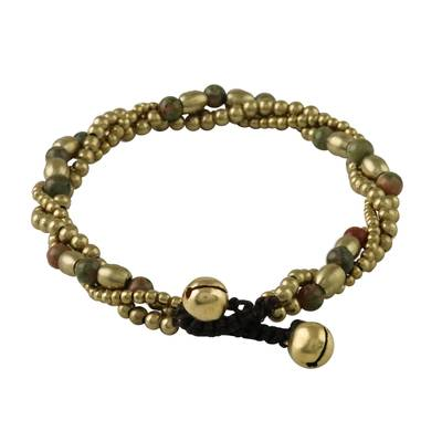 Unakite beaded torsade bracelet, 'Musical Love' - Unakite and Brass Beaded Torsade Bracelet from Thailand